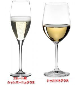 フルート型シャンパーニュグラスとシャルドネグラス
