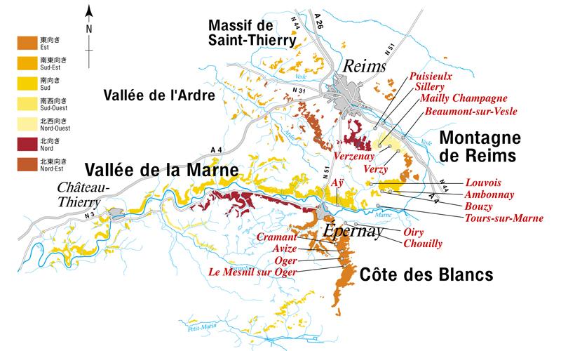 グラン・クリュの位置と主な畑の向き