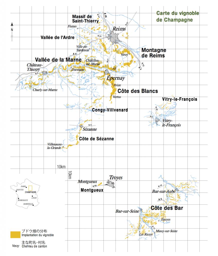 シャンパーニュ地方のブドウ畑分布図
