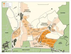 Aloxe-CortonとPernand-Vergeressesの地図