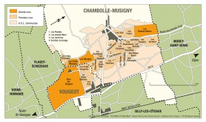 Chambolle-MusignyとVougeotの地図