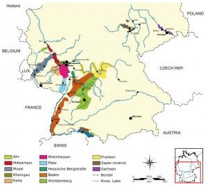 ドイツワイン生産地地図