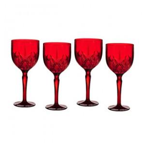 色付きカッティング入りワイングラスの一例