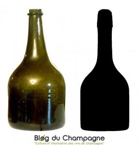 1924年当時のシャンパーニュボトルとシャンパーニュ新標準ボトルのシルエット