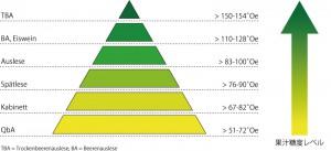 果汁糖度による等級の模式図